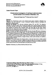 Ethnobotanical investigation of traditional medicinal plants ...