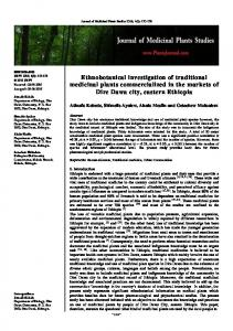 Ethnobotanical investigation of traditional medicinal plants