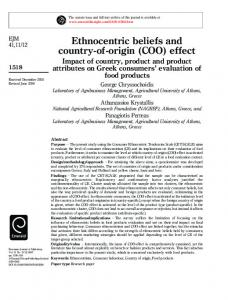 Ethnocentric beliefs and country-of-origin (COO) effect