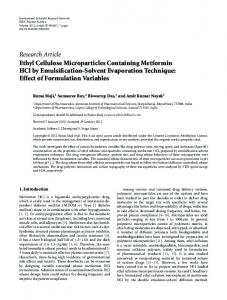 Ethyl Cellulose Microparticles Containing Metformin HCl by ...