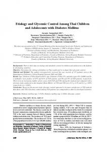 Etiology and Glycemic Control Among Thai Children ... - ThaiScience