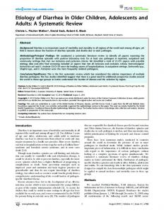 Etiology of Diarrhea in Older Children, Adolescents and ... - CiteSeerX