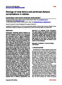 Etiology of renal failure and peritoneal dialysis complications in Isfahan