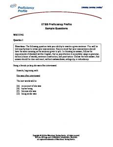 ETS Proficiency Profile Sample Questions with Directions