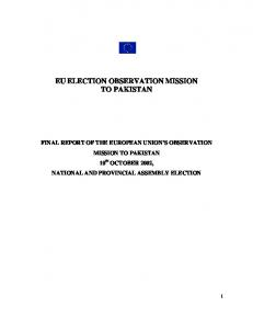 EU ELECTION OBSERVATION MISSION TO PAKISTAN