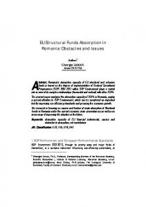 EU Structural Funds Absorption in Romania - Romanian Journal of ...