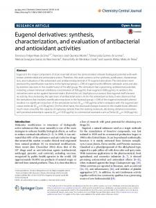 Eugenol derivatives - Chemistry Central Journal