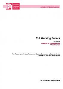 EUI Working Papers - Cadmus, EUI Research Repository - European ...