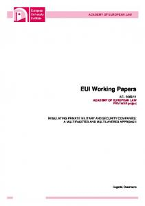 EUI Working Papers - Cadmus - European University Institute