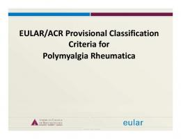 EULAR/ACR Provisional Classification Criteria for Polymyalgia ...