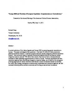 Europe 2020 and Varieties of European Capitalism ... - SSRN papers