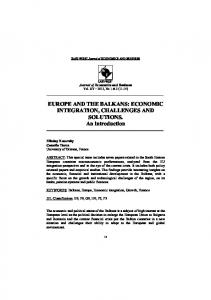 EUROPE AND THE BALKANS: ECONOMIC INTEGRATION ...