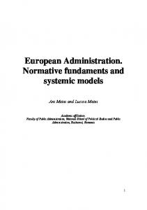 European Administration. Normative fundaments and systemic models