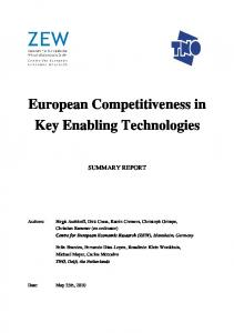 European Competitiveness in Key Enabling Technologies: Summary