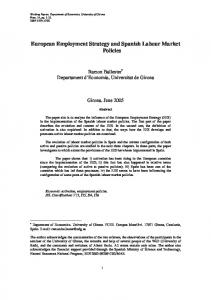 European Employment Strategy and Spanish Labour Market Policies