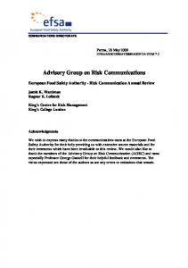 European Food Safety Authority - Risk Communication ... - CiteSeerX