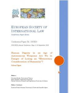 European Society of International Law - SSRN papers