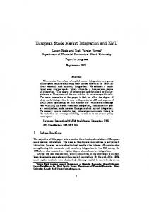 European Stock Market Integration and EMU - CiteSeerX