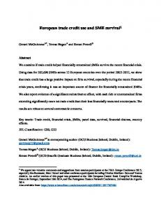 European trade credit use and SME survival1