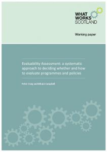 Evaluability Assessment - What Works Scotland
