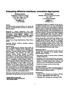 Evaluating Affective Interfaces: Innovative Approaches