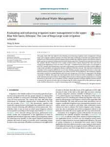 Evaluating and enhancing irrigation water management in the upper ...