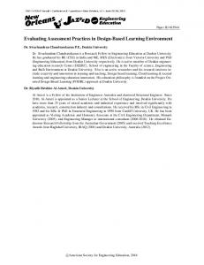 Evaluating Assessment Practices in Design-Based ... - Asee peer