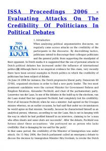 Evaluating Attacks On The Credibility Of Politicians In Political Debates