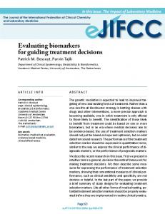 Evaluating biomarkers for guiding treatment decisions - IFCC