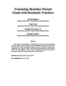 Evaluating Brazilian Mutual Funds with Stochastic Frontiers - EconWPA