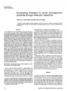 Evaluating changes in ranch management practices through ...