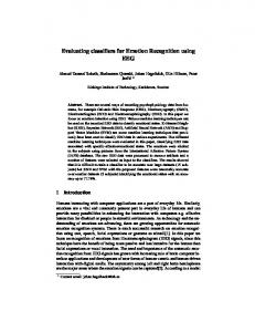 Evaluating classifiers for Emotion Recognition ... - Semantic Scholar