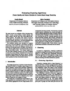 Evaluating Clustering Algorithms: Cluster Quality and Feature ...
