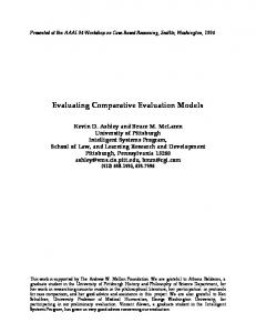 Evaluating Comparative Evaluation Models - Carnegie Mellon School ...