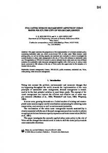 Evaluating Demand Management Aspects of Urban Water Policy. The ...