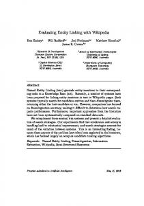 Evaluating Entity Linking with Wikipedia - Ben Hachey