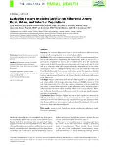 Evaluating Factors Impacting Medication ... - Wiley Online Library