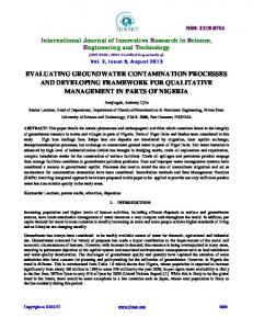 evaluating groundwater contamination processes and developing ...