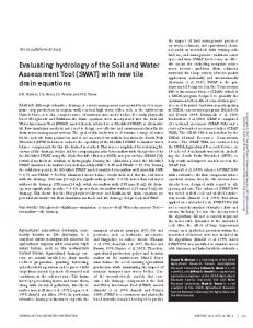 Evaluating hydrology of the Soil and Water
