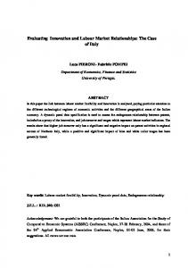 Evaluating Innovation and Labour Market Relationships ... - Economia