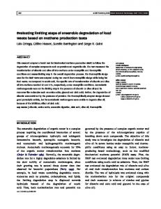Evaluating limiting steps of anaerobic degradation of food waste ...