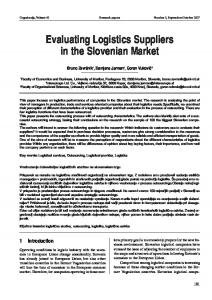 Evaluating Logistics Suppliers in the Slovenian Market