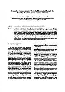 Evaluating Neuromodulator-Controlled Stochastic Plasticity for ...