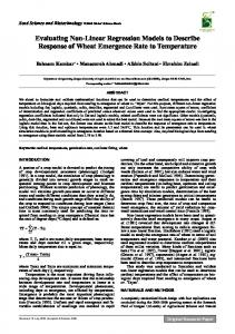 Evaluating Non-Linear Regression Models to ...