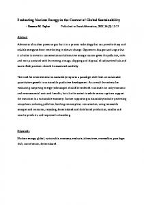 Evaluating Nuclear Energy in the Context of Global ...
