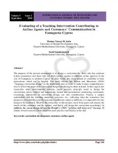Evaluating of a Teaching Intervention Contributing to