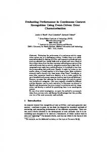 Evaluating Performance in Continuous Context Recognition ... - Core