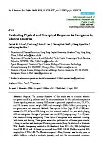 Evaluating Physical and Perceptual Responses to Exergames ... - MDPI