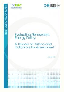 Evaluating Renewable Energy Policy - IRENA