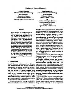 Evaluating Roget's Thesauri - Association for Computational ...